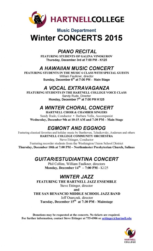 flier for Music Department concerts Dec. 2015